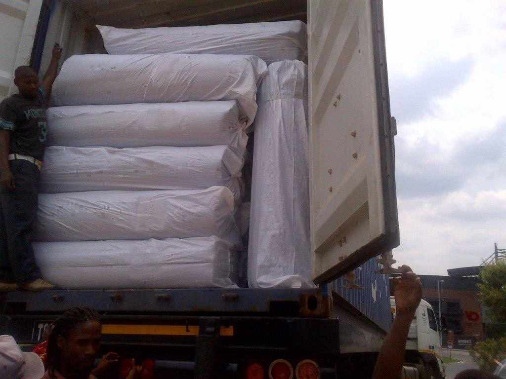 Solar blanket container ready to offload